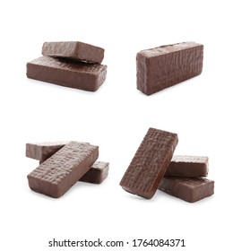 Set of delicious wafers with chocolate coating on white background. Sweet food