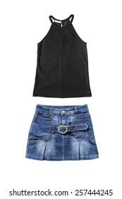 Set of denim skirt and black sleeveless top on white background