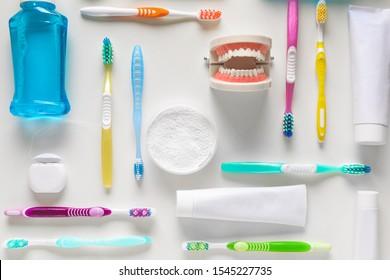 Set for dental hygiene on light background