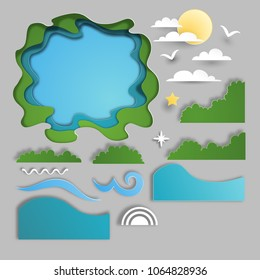 Set for design. Paper cut style. Pond, waves, sun and clouds, grass.