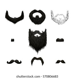 Set of detailed black mustaches and beards isolated on white