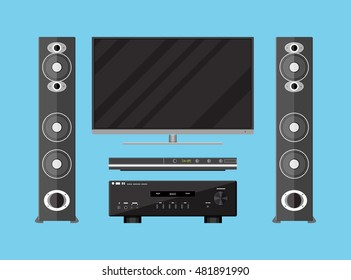 set of detailed home theater electronics. tv, amplifier, loudspeakers and media player. illustration in flat style on blue background
