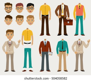 Set of details to create a your ideal Businessman in a cardboard cartoon style, similar JPG copy