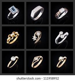 Set of diamond rings on a black background