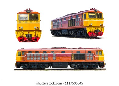 Set Diesel electric locomotive isolated on white background.