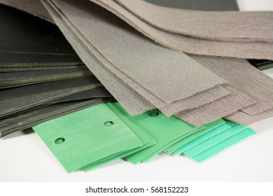 Set of different abrasive mesh sanding sheets and paper-based