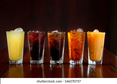 Set of different Asian soft drink on wooden table