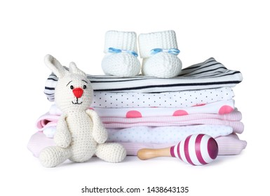 Set of different baby accessories and toys on white background