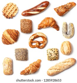Set of different bakery product, top view isolated on white background, easy cutout high angle square cut from above