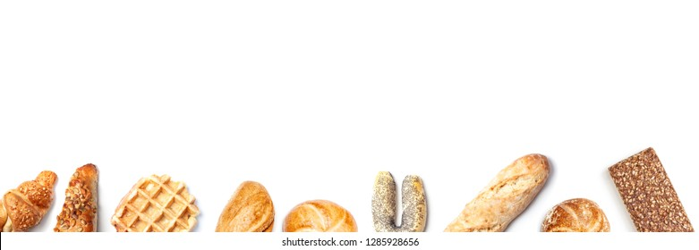 Set of different bakery product, top view isolated on white background, easy cutout high angle from above, panorama banner frame design