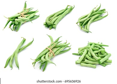 Set of different beans pods on a white background.