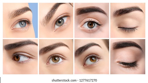 Set with different beautiful women, focus on eyes. Professional makeup artist