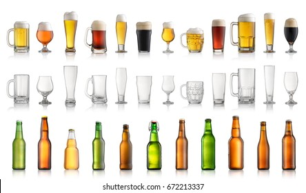 Set of different beer bottles and glasses isolated on white background