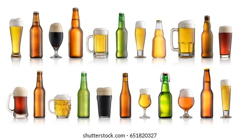 Set of different beer isolated on white background