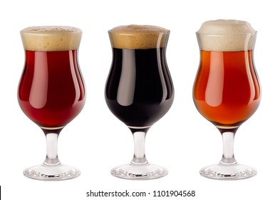 Set  of different beer in wineglasses with foam - lager, red ale, porter -  isolated on white background.