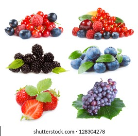 set with different  berries on a white background