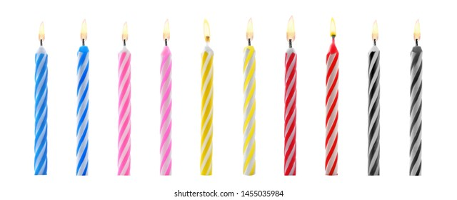 Set with different birthday candles on white background. Banner design