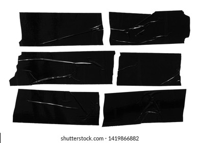 Set of different black scotch sticky tapes isolated on white background. Torn wrinkled sellotape pieces collection.