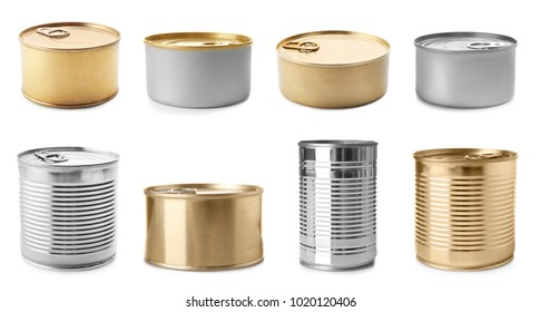 Set of different blank cans on white background