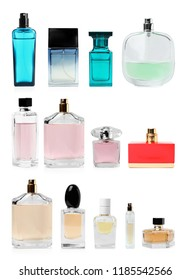 Set with different blank perfume bottles on white background