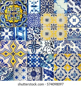 Set of different blue patterns tiles in Lisbon, Portugal