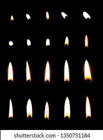 Set of different candle flames on black background