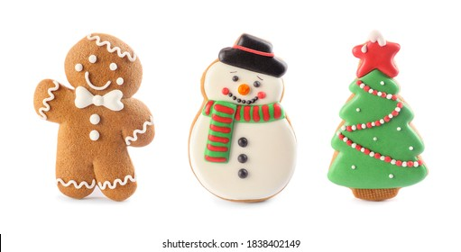 Set of different Christmas cookies on white background