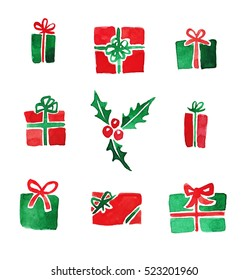 Set of different Christmas presents in red and green colors. Watercolor illustration.