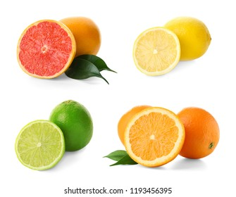 Set with different citrus fruits on white background