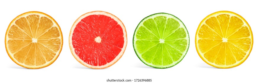 Set of different citrus slices on white background, top view. Banner design - Shutterstock ID 1726396885