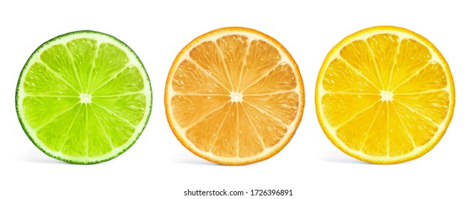Set of different citrus slices on white background, top view