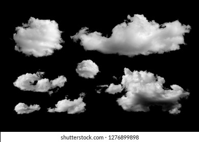 Set of different clouds isolated on black background. Design elements