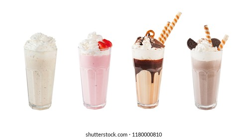 Set of different cocktails isolated on a white background
