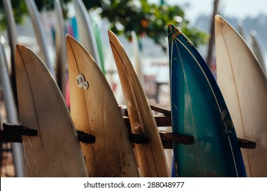 Set of different color surf boards in a stack by ocean.WELIGAMA, SRI LANKA. Surf boards on sandy Weligama beach.  On Weligama beach surf is available all year around for beginner and advanced.