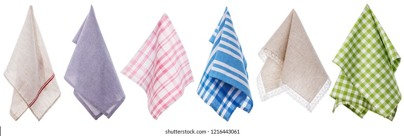 Set of different colored napkins isolated on white background
