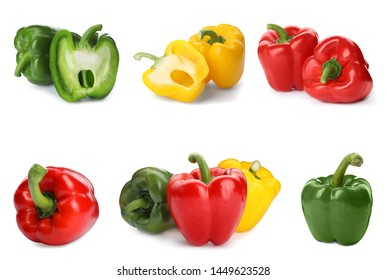 Set of different colorful bell peppers on white background