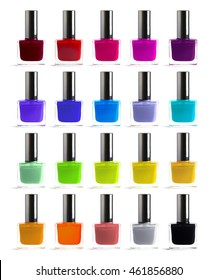 Set of different colors nail polish isolated on white background