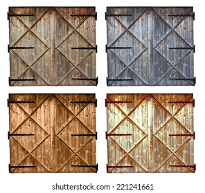 set of different colors old barn wooden door isolated on white background