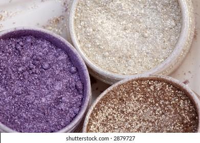 set of different coloured powder eyeshadow
