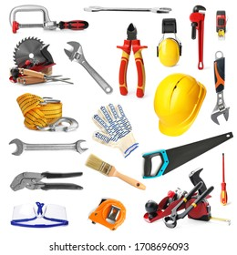 Set with different construction and carpenter tools on white background