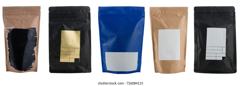 Set of different craft coffee bags isolated on white