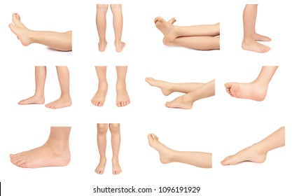 set of different Cute kid leg, fast growing foot, isolated on white background.