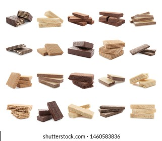 Set of different delicious crispy wafers on white background