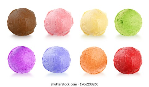 Set with different delicious ice creams on white background, banner design