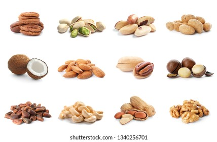 Set of different delicious organic nuts on white background