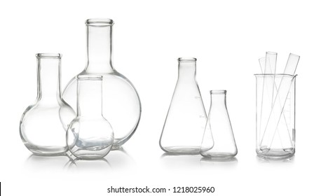 Set with different empty laboratory glassware for analysis on white background