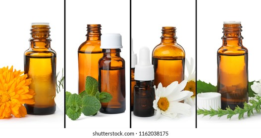 Set with different essential oils on white background