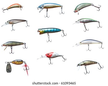 Set of different fishing bait wobbler, isolated on white.