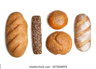 Set of different fresh bread isolated on white background. Top view.