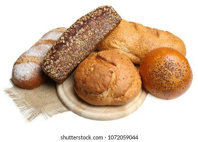 Set of different fresh bread isolated on white background.